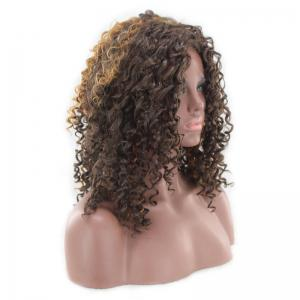 Medium Side Bang Fluffy Highlight Afro Curly Perruque synthétique -