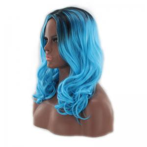 Long Center Parting Shaggy Wavy Colormix Synthetic Wig - BLUE AND BLACK
