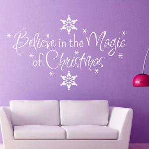 Christmas Letter Snowflake Wall Stickers For Bedroom - WHITE
