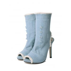 Stiletto Heel Peep Toe Denim Boots -