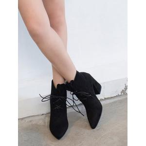 Tie Up Pointed Toe Ankle Boots - BLACK 35