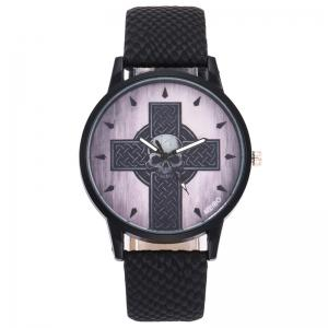 Faux Leather Strap Cross Skull Watch - BLACK