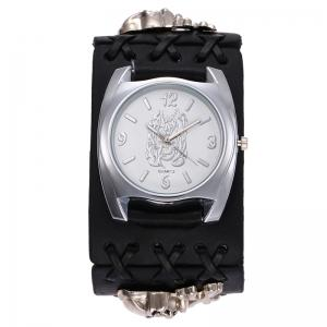 Gothic Style Skull Embellished Number Watch - BLACK