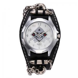 Gothic Style Skull Bullet Number Watch - BLACK