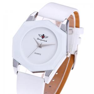 Faux Leather Strap Octagon Watch -