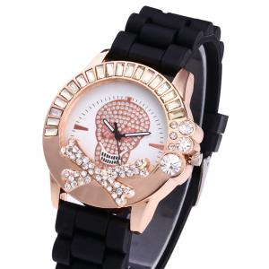 Rhinestone Skull Face Silicone Watch - RED