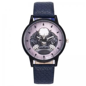 Driving Skeleton Face Faux Leather Watch -