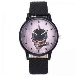 Smoking Skull Face Faux Leather Watch -
