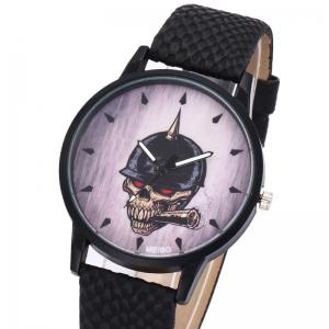 Smoking Skull Face Faux Leather Watch - BROWN