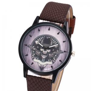 Gun Skull Face Faux Leather Watch -