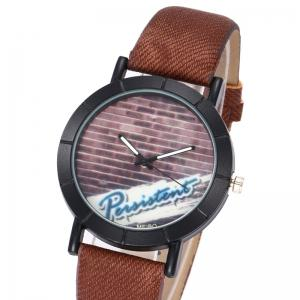 Brick Wall Face Faux Leather Watch - BLACK