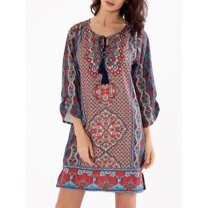 Floral Boho Shift Dress - Multicolore 2XL