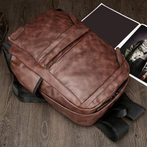 Side Pocket PU Leather Backpack - BROWN