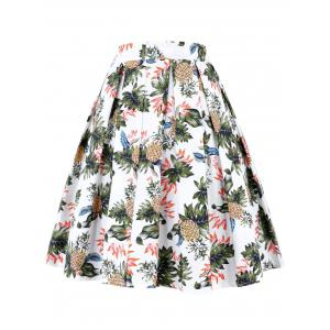 A Line Pineapple Pleated Skirt - WHITE XL