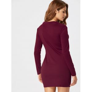 Lace Up Long Sleeve Bodycon Dress - WINE RED XL