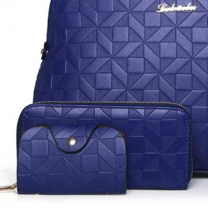 3 Pieces Metal Quilted Tote Bag Set - BLUE