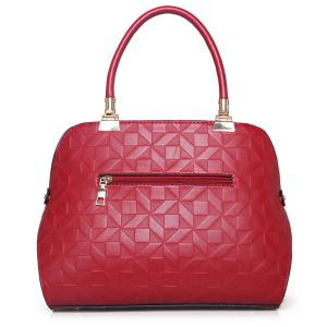 3 Pieces Metal Quilted Tote Bag Set - RED