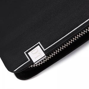Faux Leather Zipper Clutch Wallet - BLACK