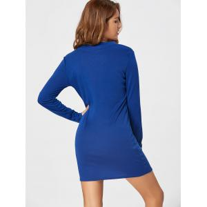 Lace Up Long Sleeve Bodycon Dress - BLUE XL