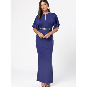 Raglan Sleeve V Neck Maxi Bodycon Dress - Bleu 2XL