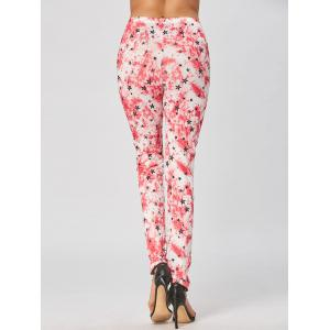 Skinny Star Print Leggings - RED S