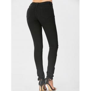 Embroidered High Waisted Ripped Jeans - BLACK XL