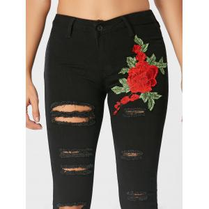 Embroidered High Waisted Ripped Jeans - BLACK 2XL