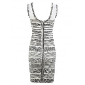 Mesh Panel Sleeveless Print Bandage Dress - WHITE M
