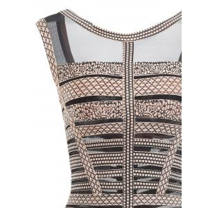 Mesh Panel Sleeveless Print Bandage Dress - BLACK M