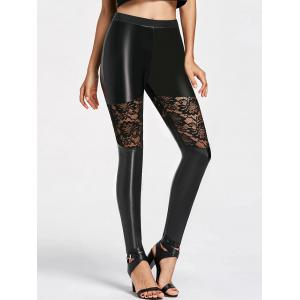 Lace Insert Skinny Faux Leather Pants -
