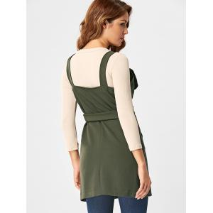 Open Back Waistcoat with Belt - ARMY GREEN 2XL