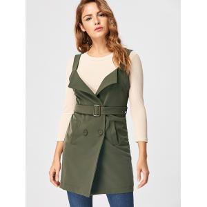 Open Back Waistcoat with Belt - ARMY GREEN L