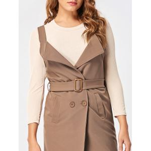 Open Back Waistcoat with Belt - KHAKI 2XL