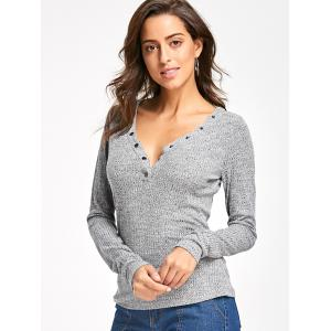 Long Sleeve Button V Neck Ribbed Top - GRAY L