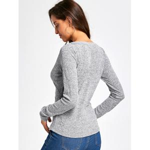 Long Sleeve Button V Neck Ribbed Top -