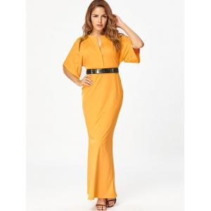 Raglan Sleeve V Neck Maxi Bodycon Dress -