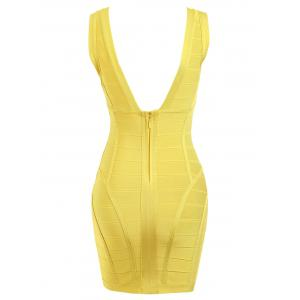 Sleeveless Plunging Neck Bandage Dress -