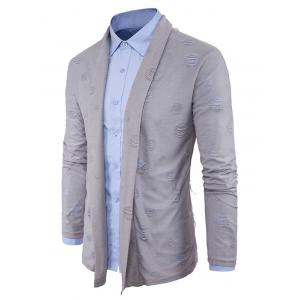 Shawl Collar Cotton Blends Distressed Cardigan -