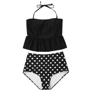 Peplum High Waisted Polka Dot Tankini Set -