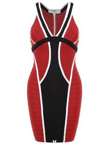 Sale Color Block V Neck Bandage Dress - M RED Mobile