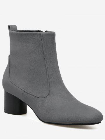 Chunky Heel Zipper Pointed Toe Boots