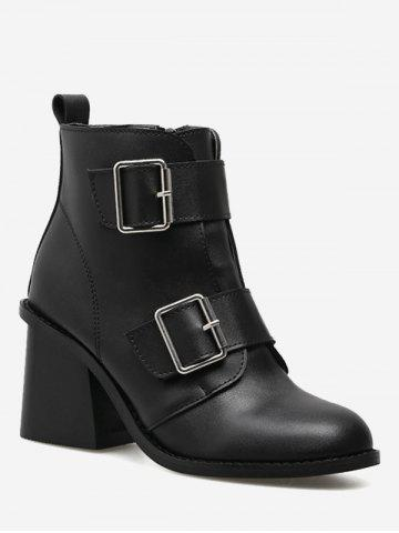 Trendy Ankle Chunky Heel Double Buckle Straps Boots - 37 BLACK Mobile