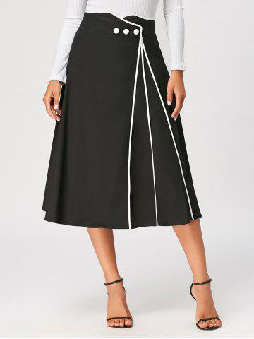 Trendy Color Trim A Line Midi Skirt BLACK 2XL