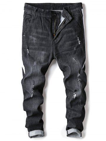 Fashion Selvedge Embellished Ripped Jeans - 30 BLACK Mobile
