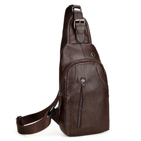 Chic Headphone Hole PU Leather Chest Bag - BROWN  Mobile