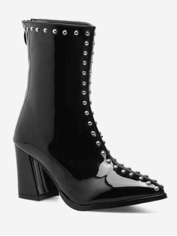 Latest Pointed Toe Stud Patent Leather Ankle Boots - 35 BLACK Mobile
