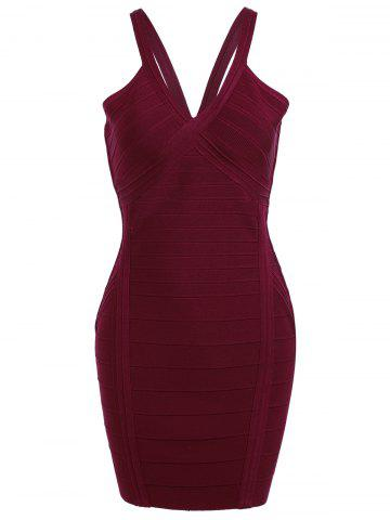 Online Cami Strap Club Bandage Dress - S WINE RED Mobile