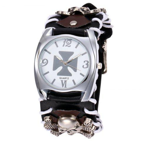 Unique Skull Faux Leather Strap Gothic Watch BLACK