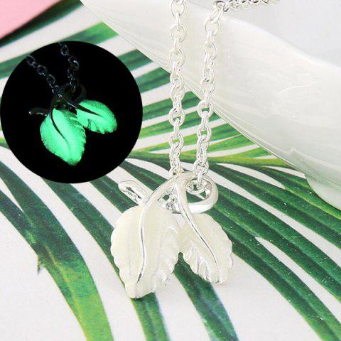 Store Fluorescent Leaf Shape Charm Necklace GREEN