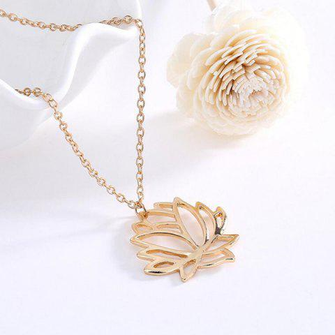 Fashion Hollow Out Carve Lotus Flower Charm Necklace - GOLDEN  Mobile